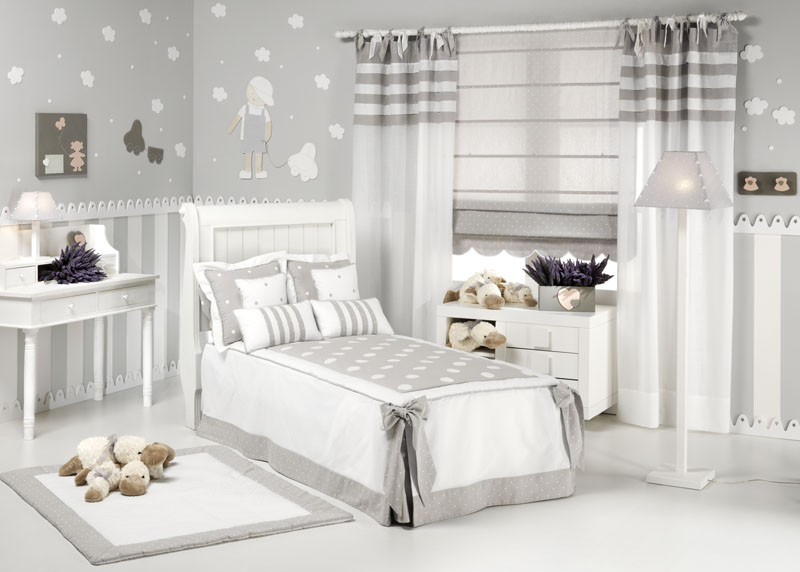 Gama 2000 decoraci n infantil en gris for Cortinas grises y blancas